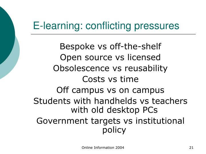 E-learning: conflicting pressures