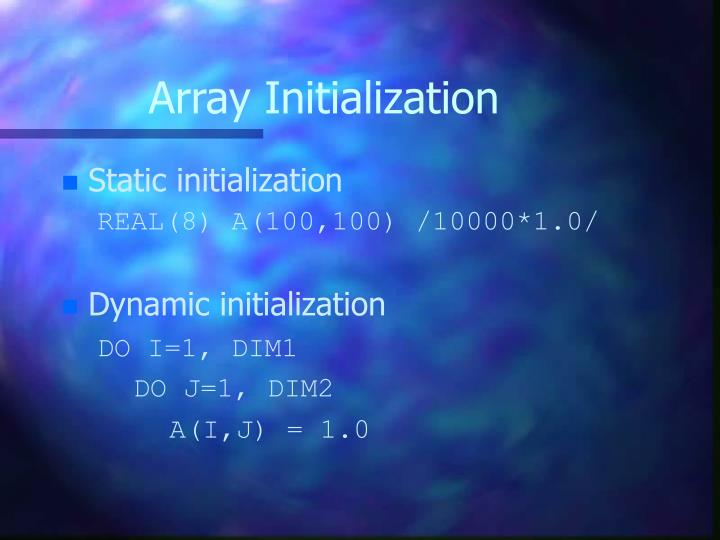 Array Initialization
