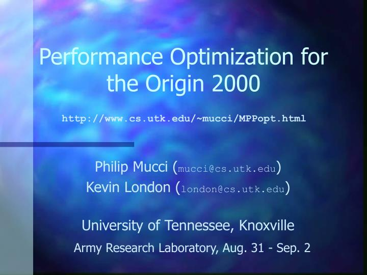 Performance optimization for the origin 2000