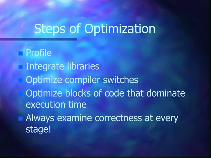Steps of Optimization