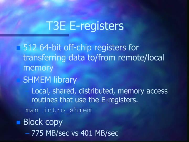 T3E E-registers