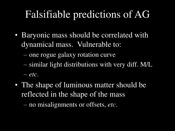 Falsifiable predictions of AG