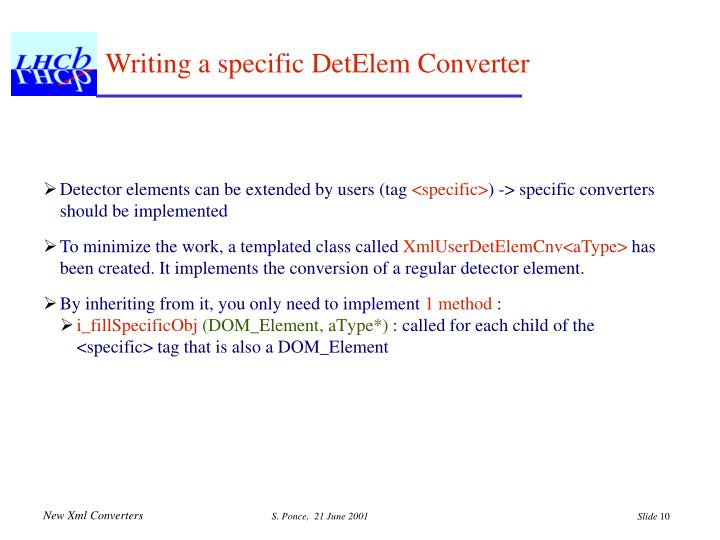 Writing a specific DetElem Converter