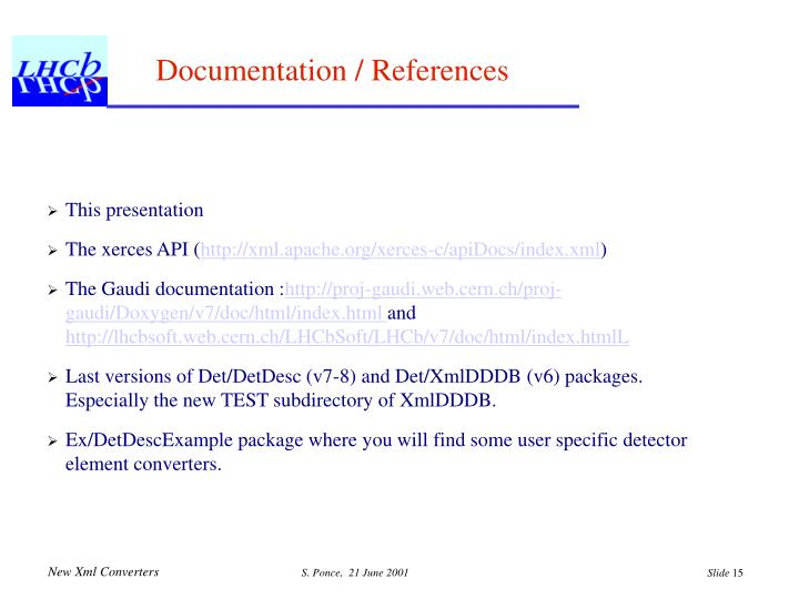 Documentation / References