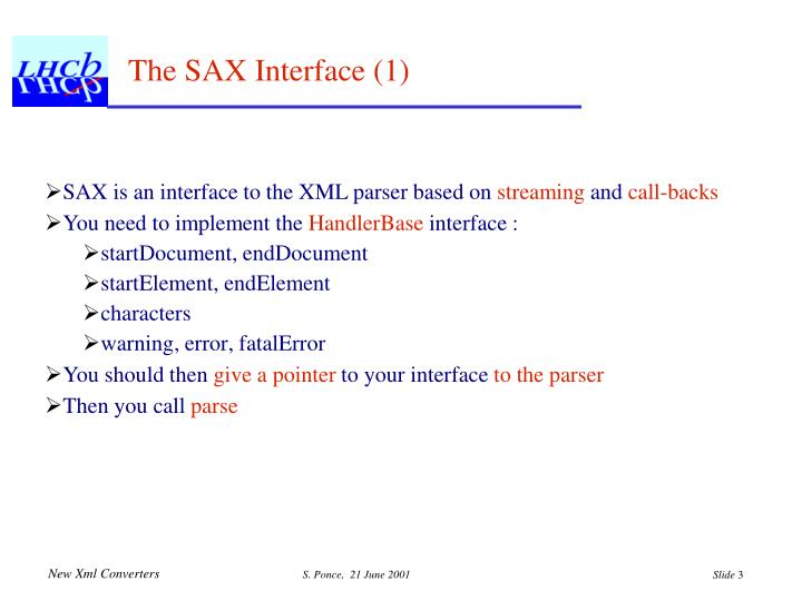 The SAX Interface (1)