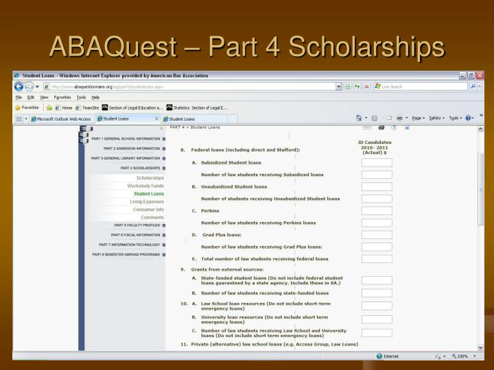 ABAQuest – Part 4 Scholarships