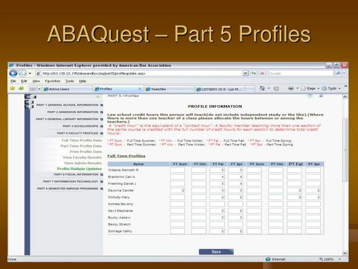 ABAQuest – Part 5 Profiles