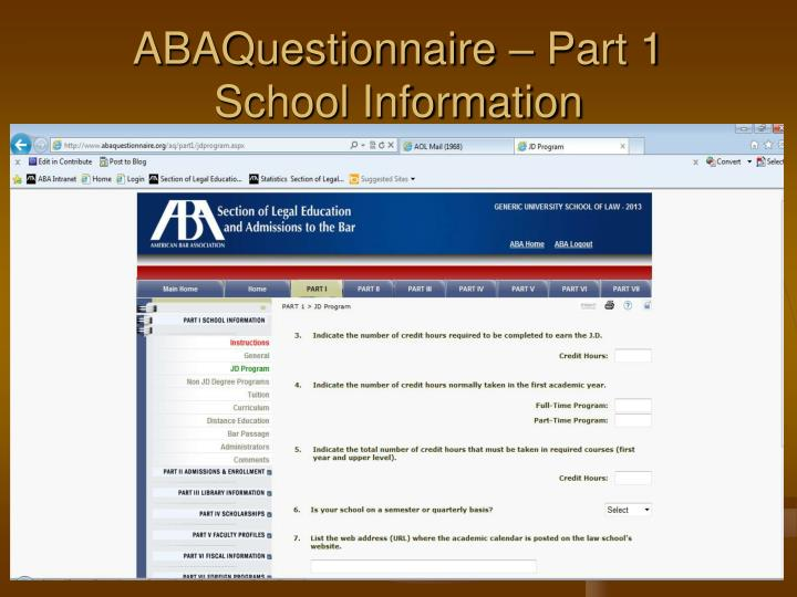 ABAQuestionnaire – Part 1