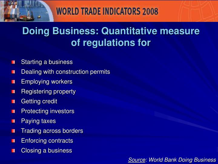 Doing Business: Quantitative measure of regulations for