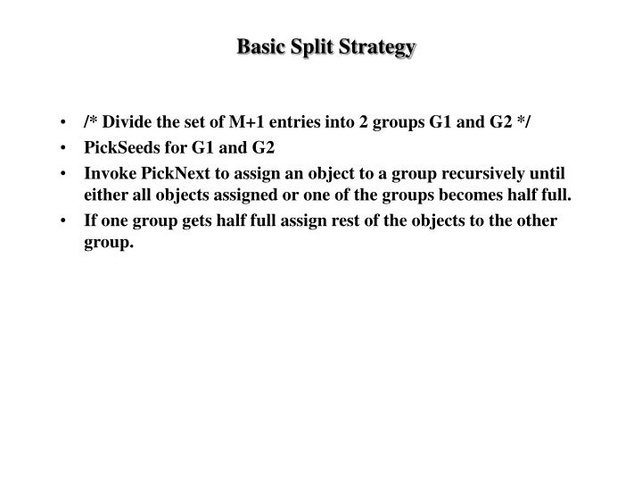 Basic Split Strategy