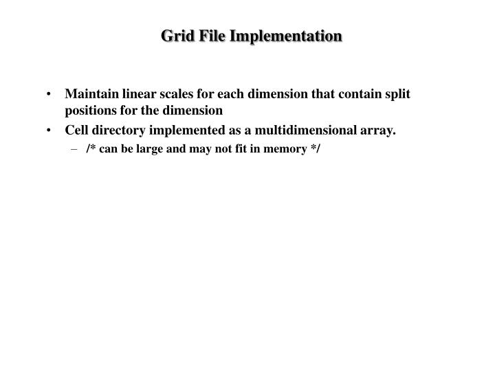 Grid File Implementation