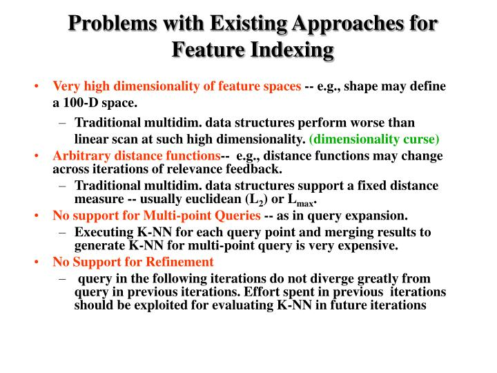 Problems with Existing Approaches for Feature Indexing