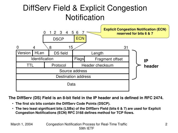 DiffServ Field & Explicit Congestion Notification