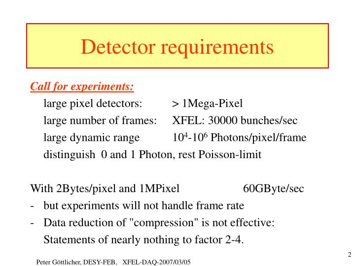 Detector requirements