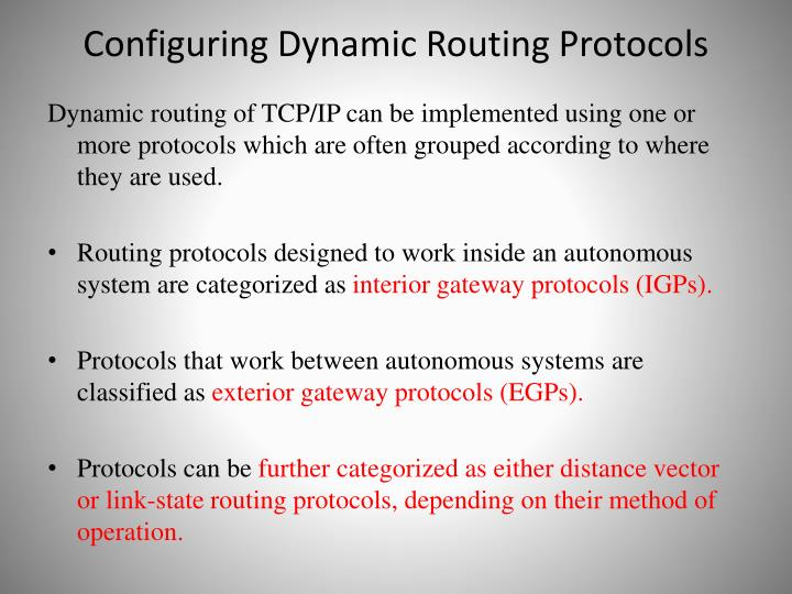 Configuring Dynamic Routing Protocols