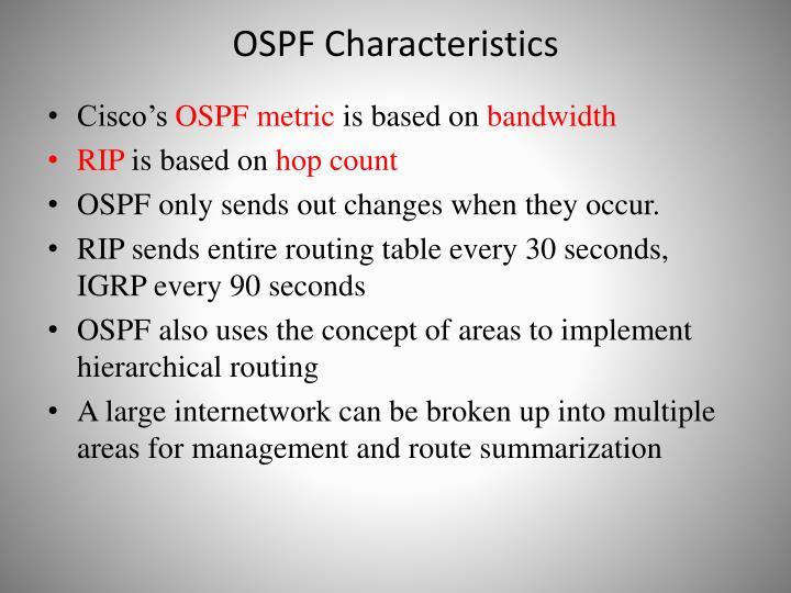 OSPF Characteristics