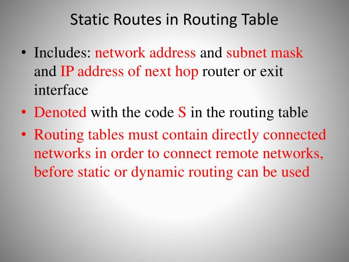 Static Routes in Routing Table