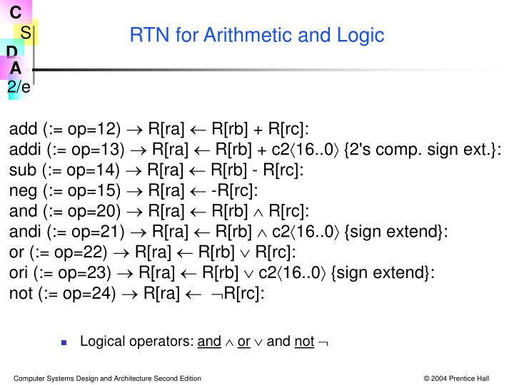 RTN for Arithmetic and Logic