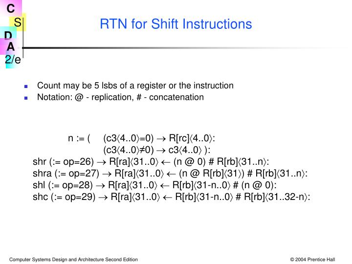 RTN for Shift Instructions
