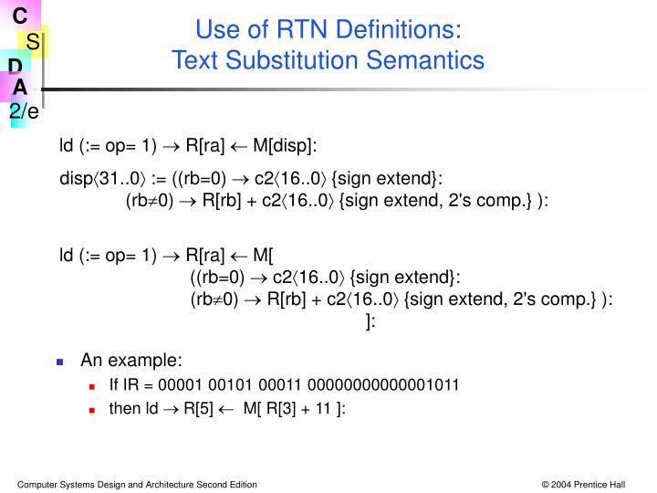 Use of RTN Definitions: