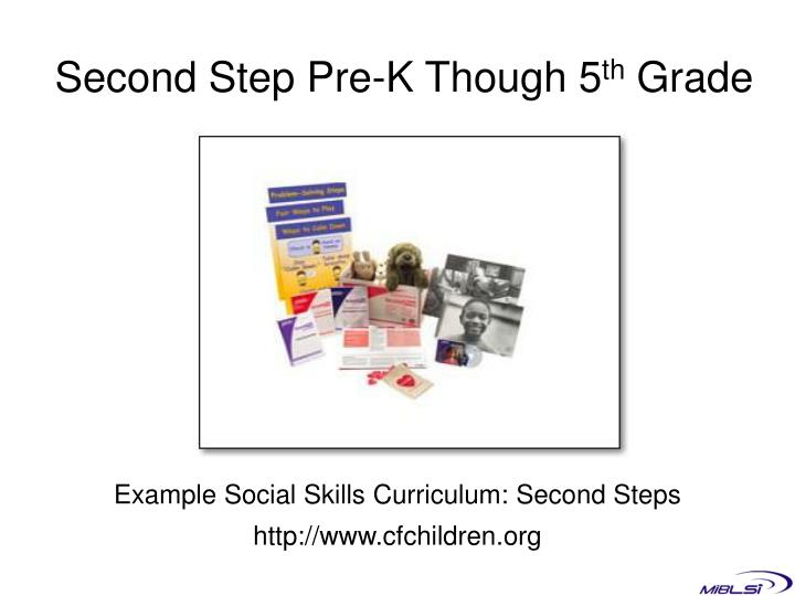 Second Step Pre-K Though 5