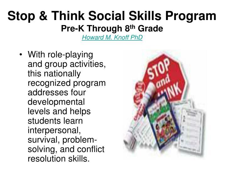 Stop & Think Social Skills Program