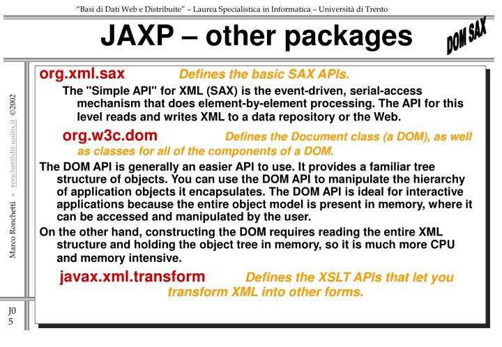 JAXP – other packages