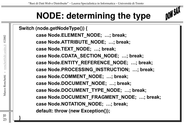 NODE: determining the type