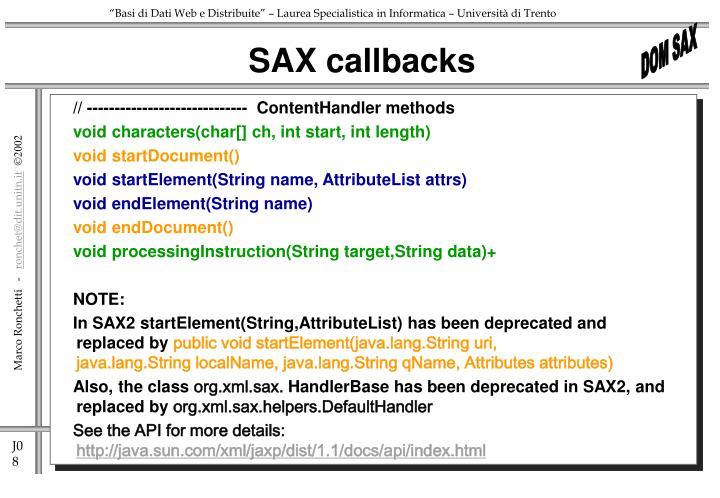 SAX callbacks