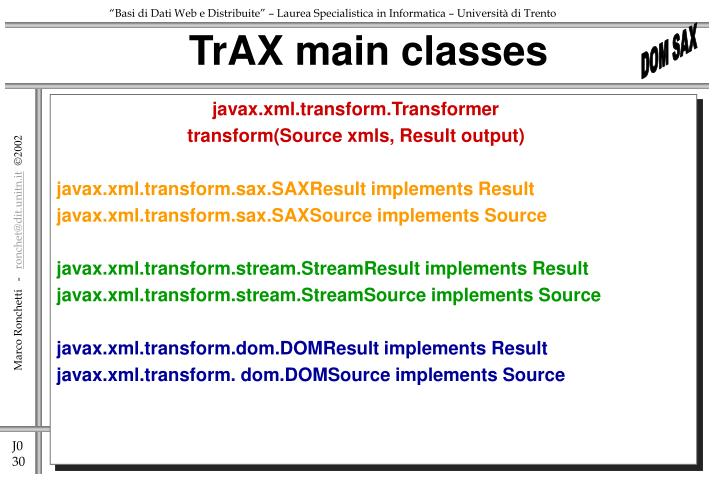 TrAX main classes