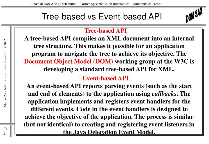 Tree based vs event based api