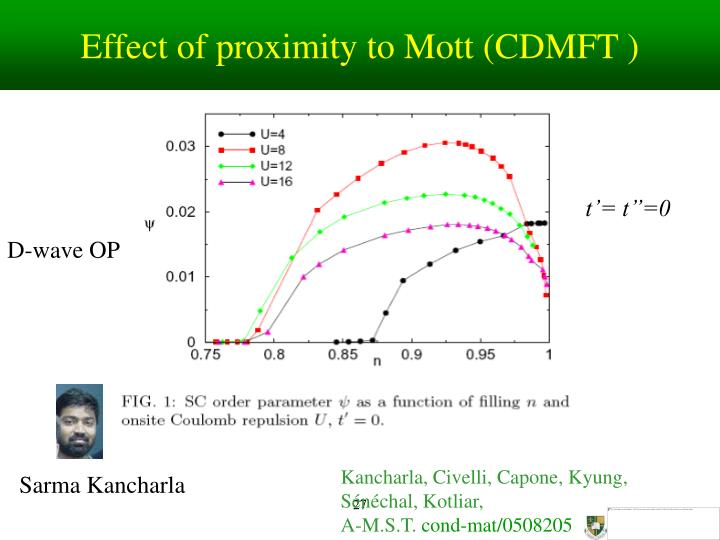 Effect of proximity to Mott (CDMFT )