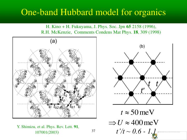 One-band Hubbard model for organics