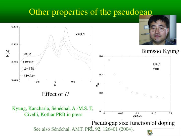 Other properties of the pseudogap