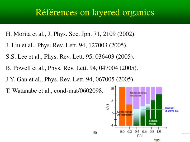 Références on layered organics