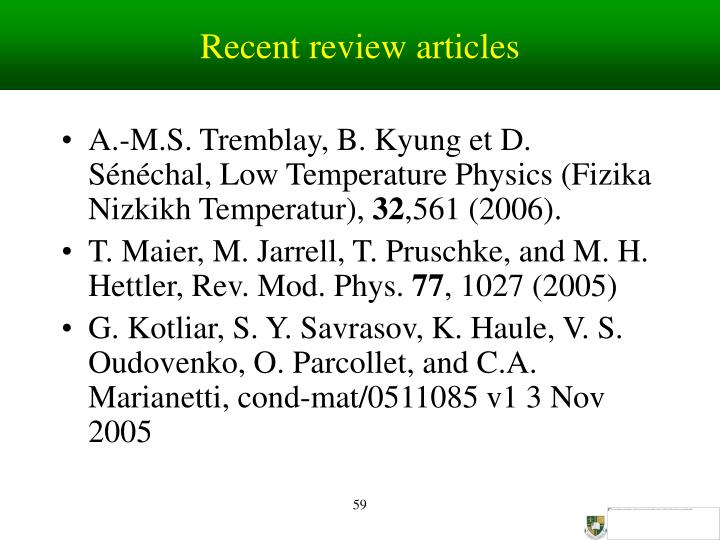 Recent review articles