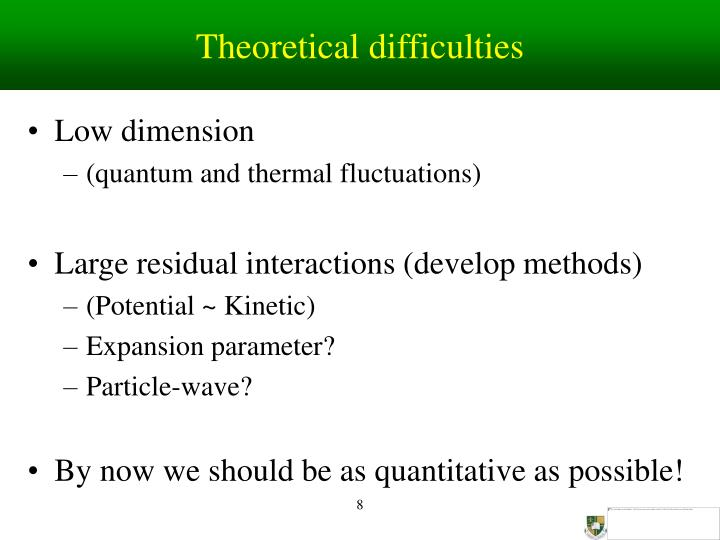 Theoretical difficulties