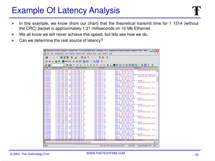 Example Of Latency Analysis