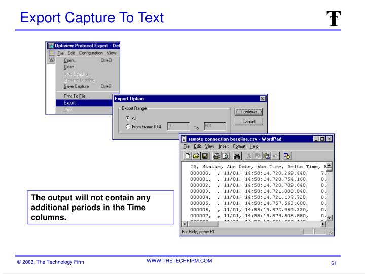Export Capture To Text