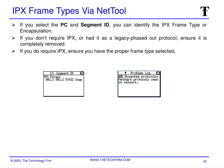 IPX Frame Types Via NetTool