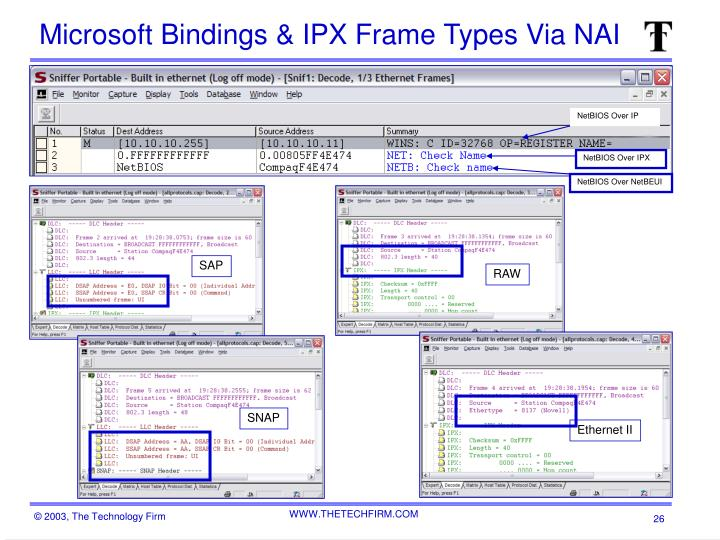 Microsoft Bindings & IPX Frame Types Via NAI