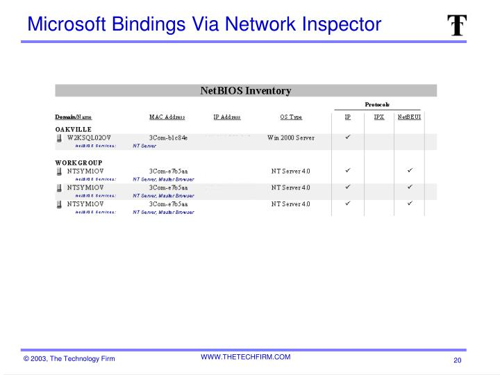 Microsoft Bindings Via Network Inspector