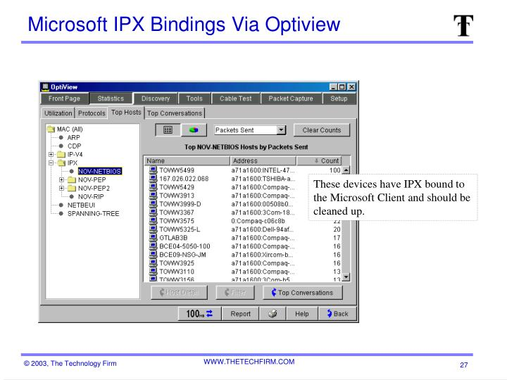 Microsoft IPX Bindings Via Optiview
