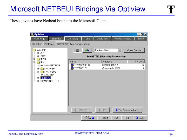 Microsoft NETBEUI Bindings Via Optiview