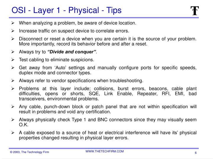 OSI - Layer 1 - Physical - Tips