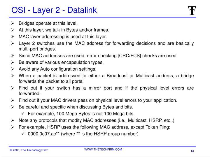 OSI - Layer 2 - Datalink