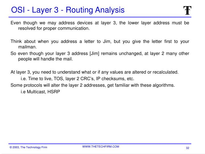 OSI - Layer 3 - Routing Analysis