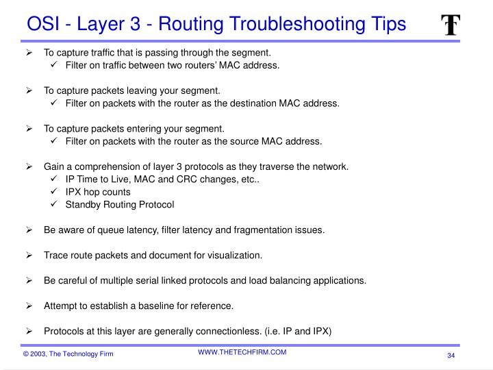 OSI - Layer 3 - Routing Troubleshooting Tips