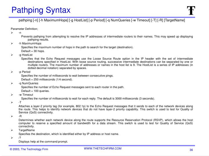 Pathping Syntax