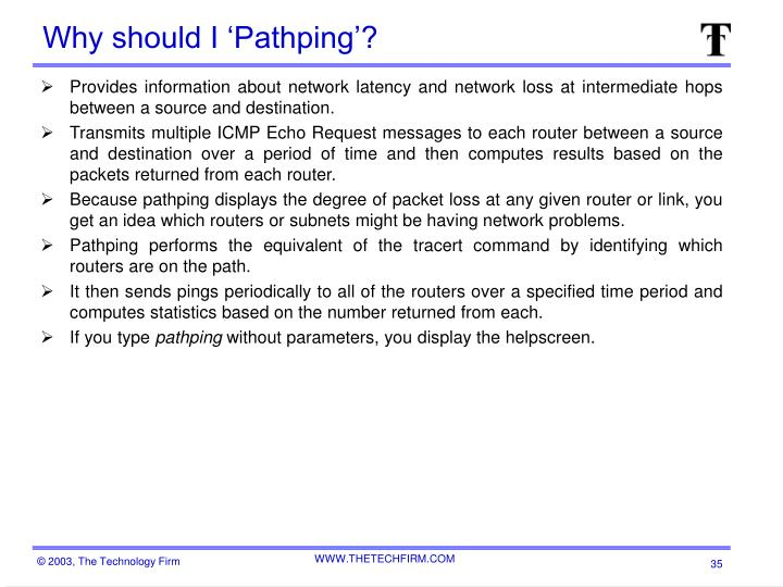 Why should I 'Pathping'?